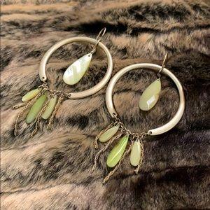 Super/funky, gold/green earrings! Old BOHO style.